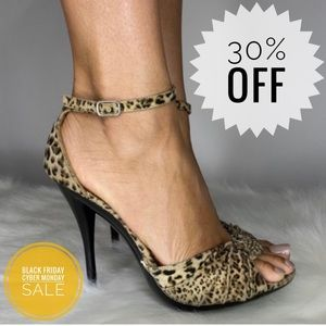 Cheetah Print Peep Toe Heels